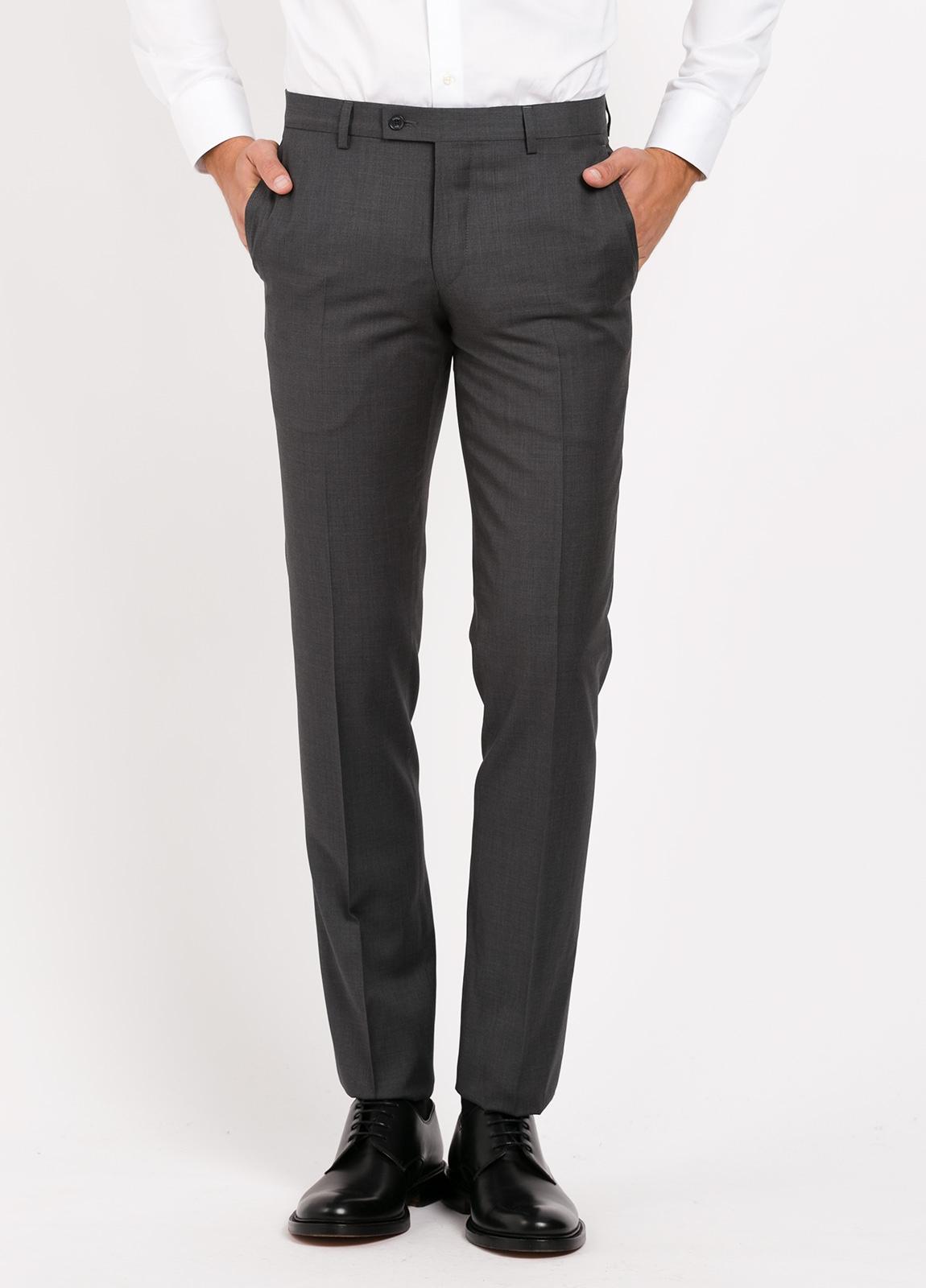 Pantalón vestir Slim Fit, color gris marengo. 100% Lana.