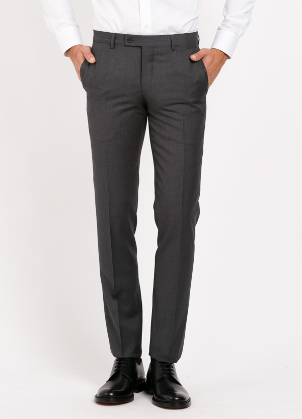 Pantalón vestir Slim Fit, color gris marengo. 100% Lana.