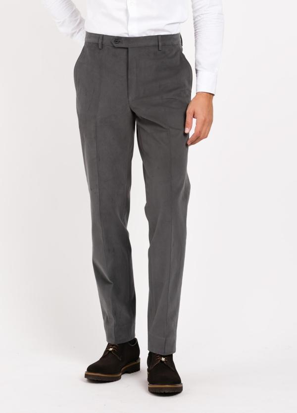 Pantalón Vestir De Algodón Regular Fit Color Gris Oscuro 98 Algodón 2 Ea