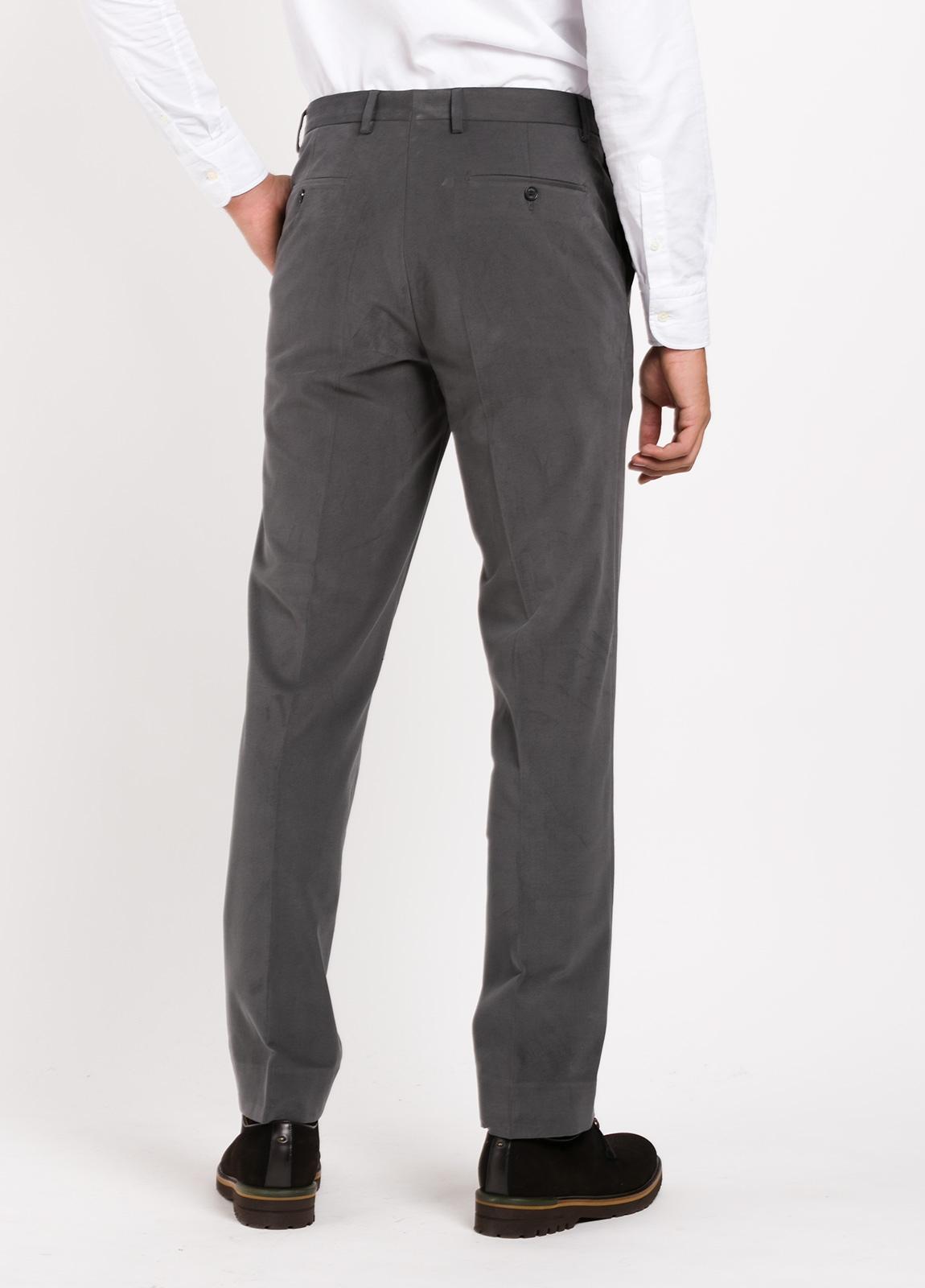 Pantalón vestir de algodón Regular Fit, color gris oscuro. 98% Algodón, 2% Ea. - Ítem3