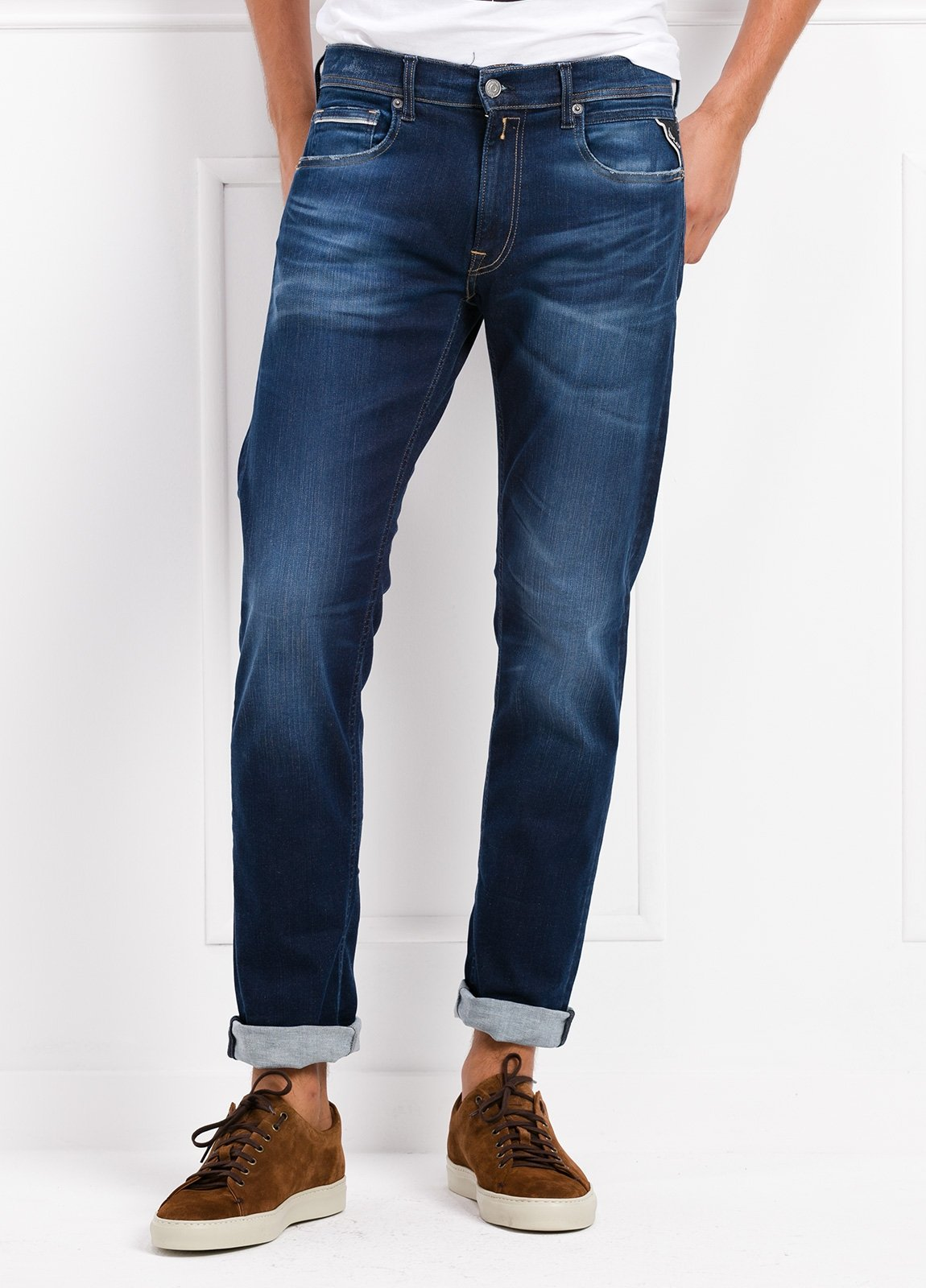 Pantalón tejano corte recto MA972 GROVER color azul lavado. Algodón