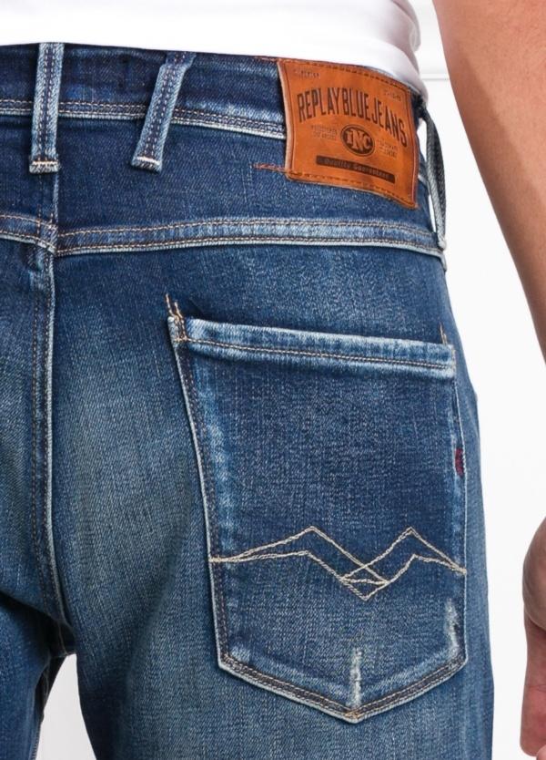 Pantalón tejano 12,5 oz SLIM 914J ANBASS color azul lavado. 98% Algodón. 2% Elastano. - Ítem1