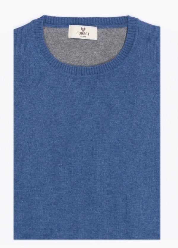 Jersey liso cuello redondo color azulon. Lana y Cashmere.
