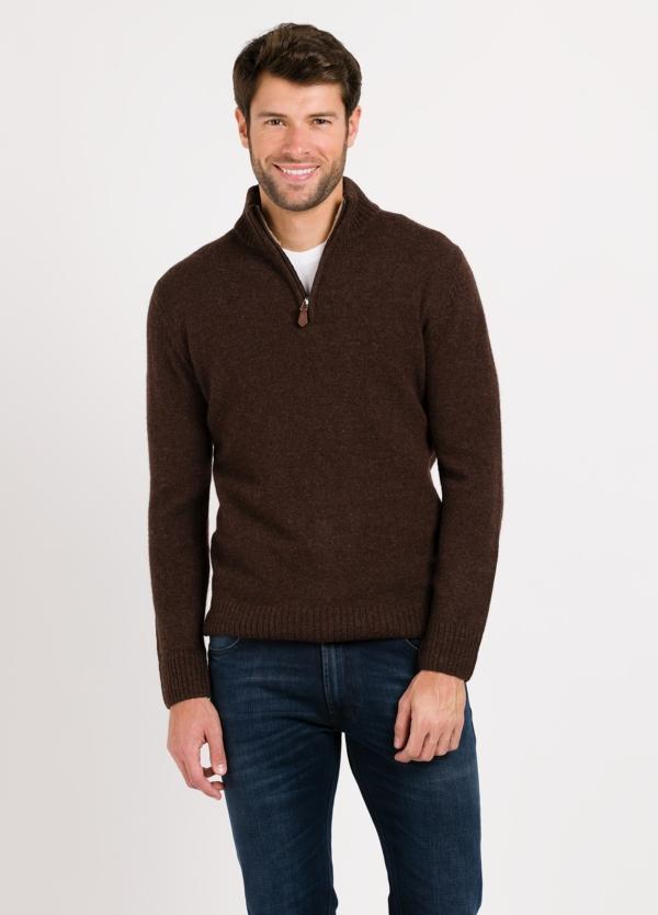 Jersey Sport cuello cremallera, color tostado, 100% Lana cordero.