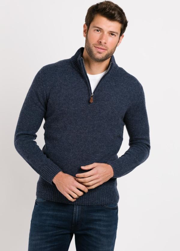 Jersey Sport cuello cremallera, color azul, 100% Lana cordero.