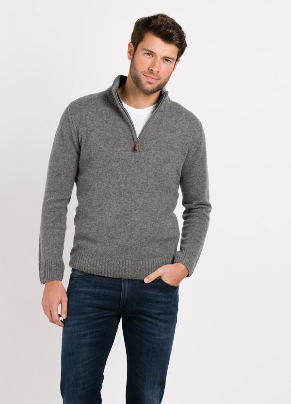 Jersey Sport cuello cremallera, color gris claro, 100% Lana cordero.