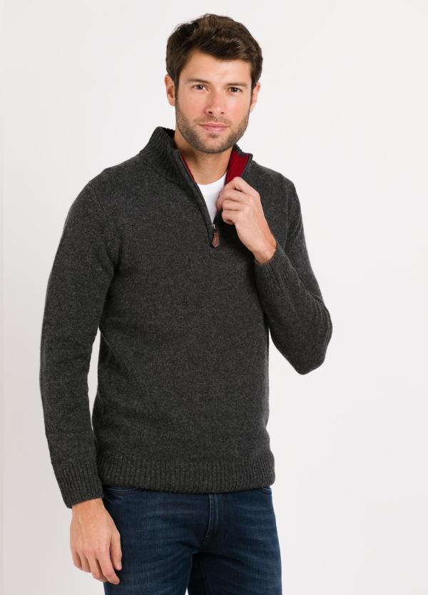 Jersey Sport cuello cremallera, color gris oscuro, 100% Lana cordero.