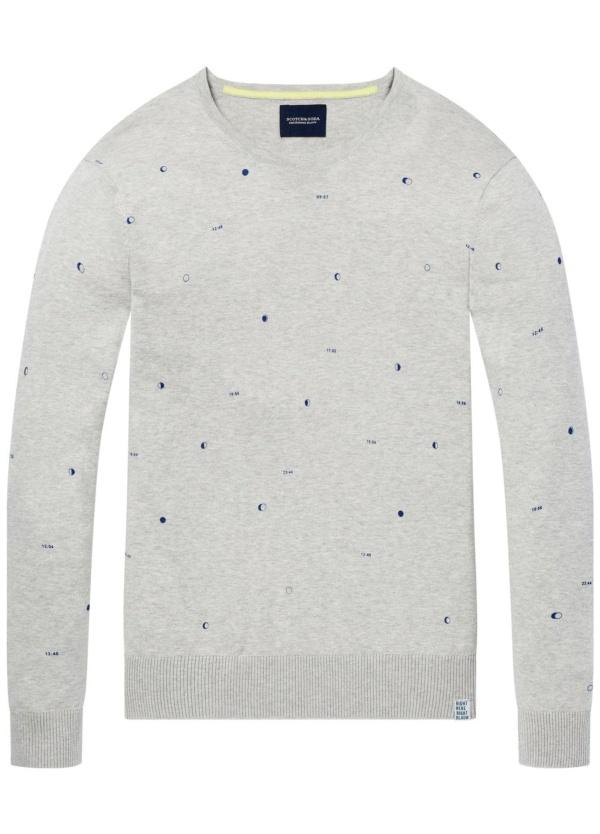 Jersey cuello redondo Regular Fit, estampado fases lunares, color gris. 100% Algodón.