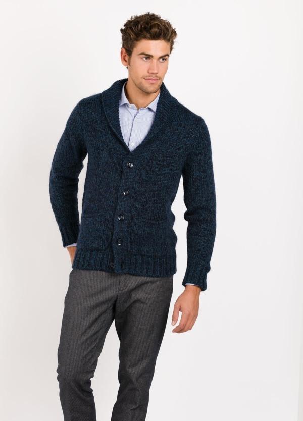 Cardigan con botones color azul,80% lana 20% poliamida
