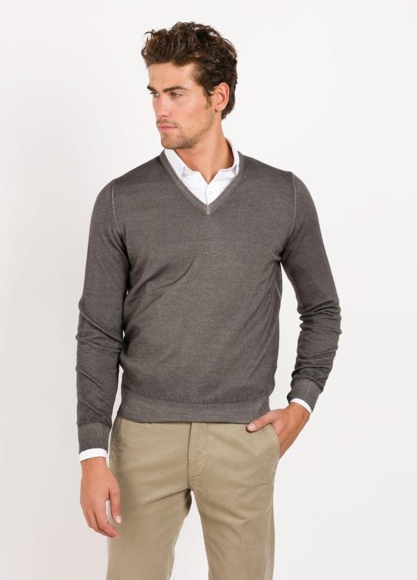 Jersey cuello pico color vison,100% lana merino