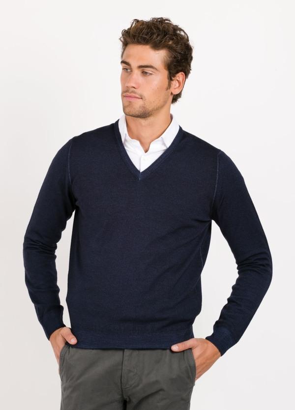 Jersey cuello pico color azul,100% lana merino