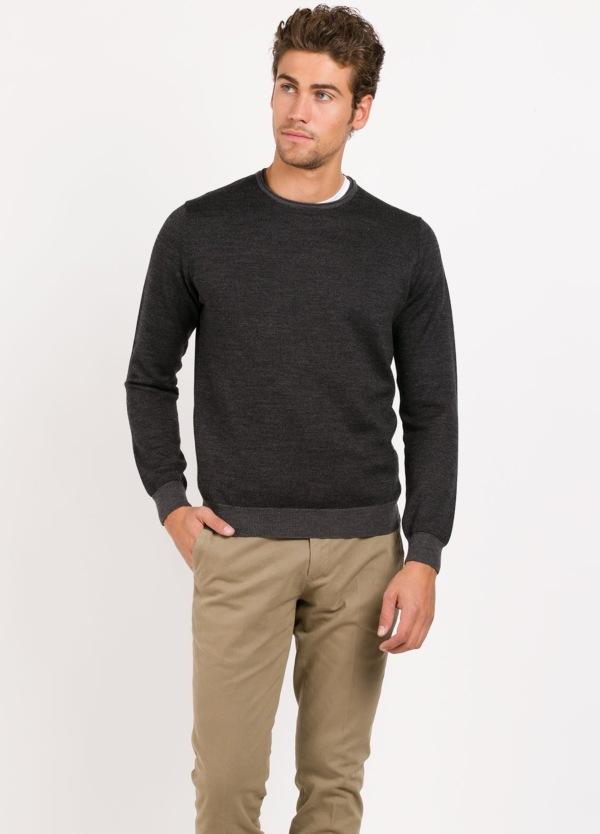 jersey cuello redondo color gris marengo, 100 % lana
