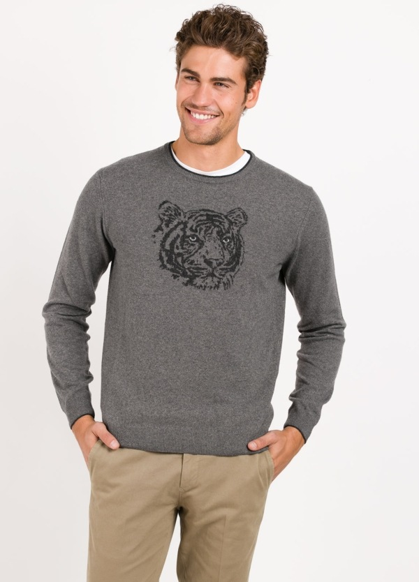 Jersey cuello redondo color gris, dibujo tigre delantero,100% lana