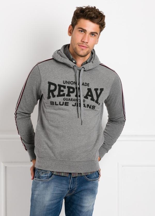 Sudadera con capucha, color gris con logotipo estampado. 100% Algodón. - Ítem1