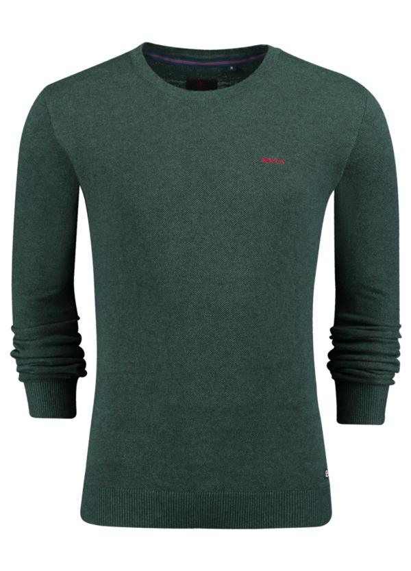 Jersey liso cuello redondo color verde. Algodón y cashemere.