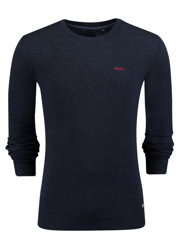 Jersey liso cuello redondo color azul noche. Algodón y cashemere.