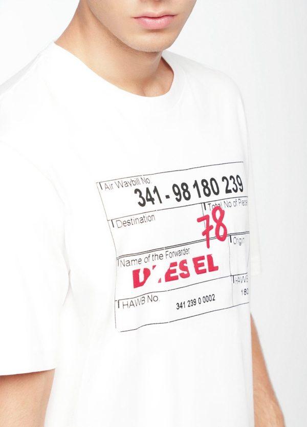 Camiseta básica m/corta de corte recto y logo tarjeta de embarque. Color blanco. 100% algodón. - Ítem1