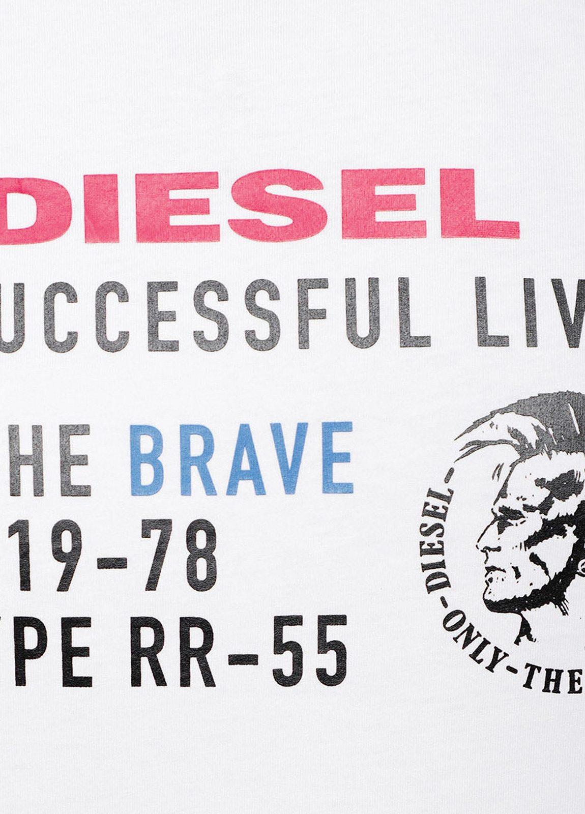Camiseta básica m/corta de corte recto y logo Diesel. Color blanco. 100% algodón. - Ítem1