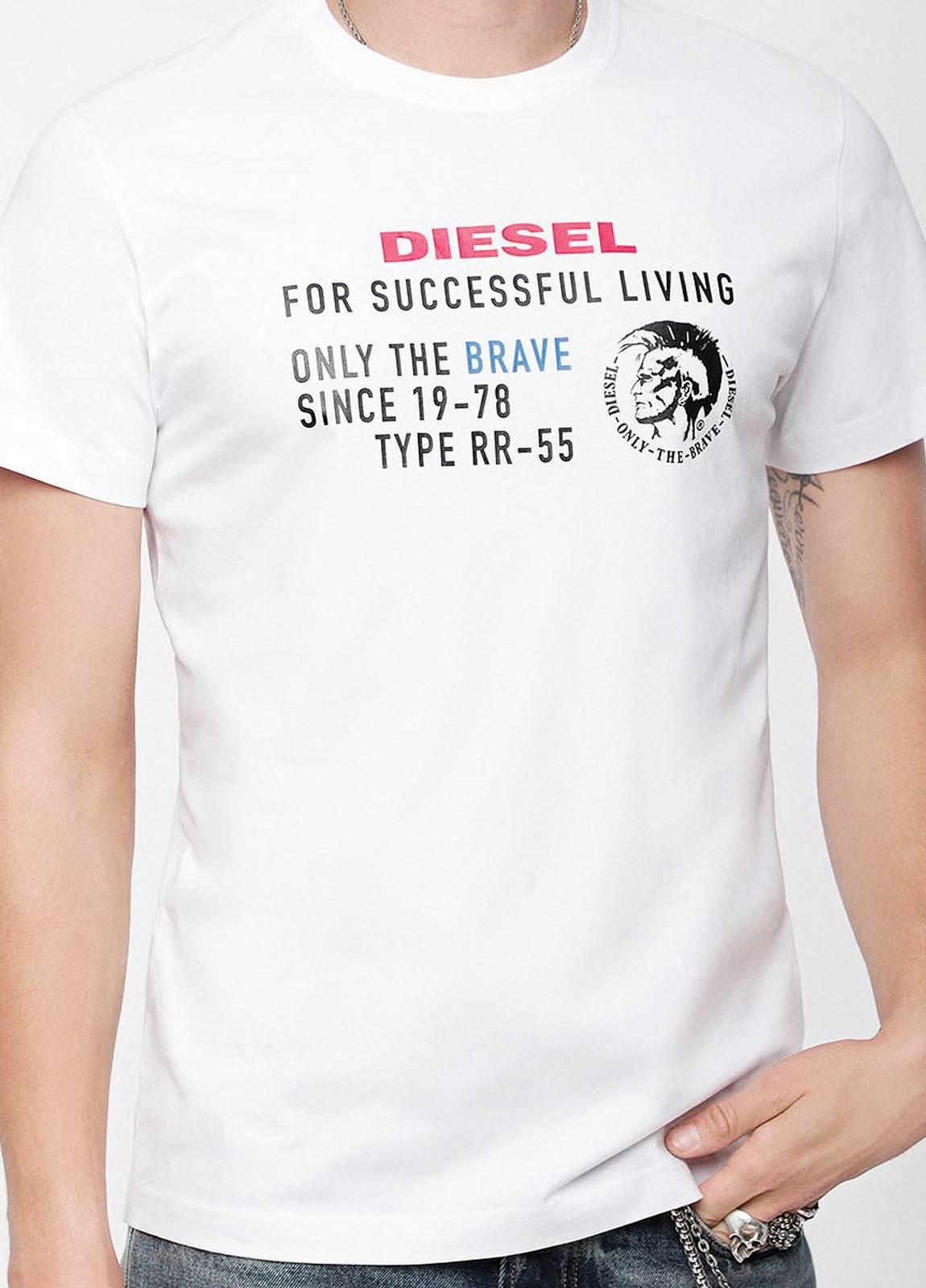 Camiseta básica m/corta de corte recto y logo Diesel. Color blanco. 100% algodón.