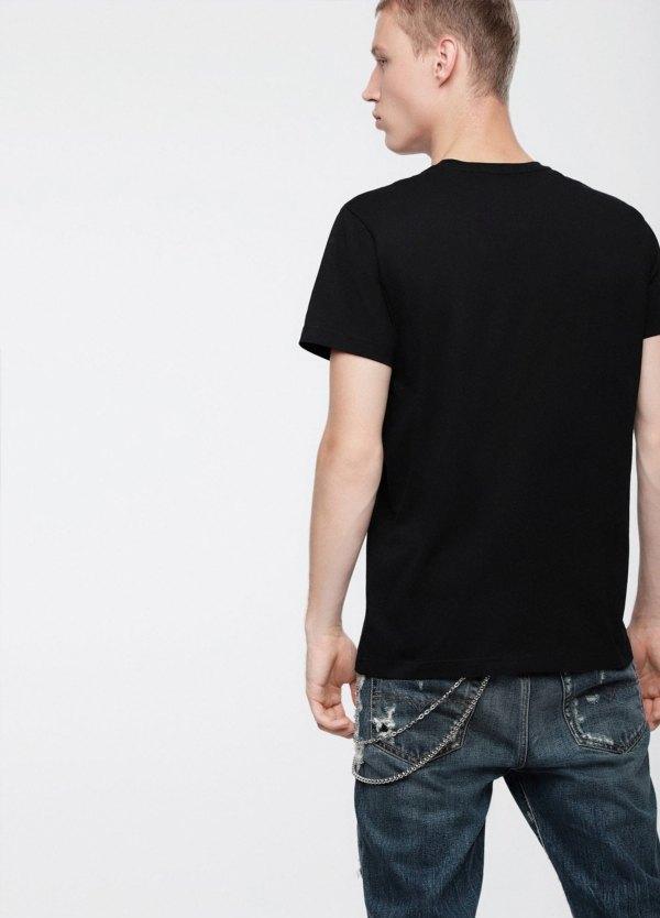 Camiseta básica m/corta de corte recto y logo Diesel. Color negro. 100% algodón. - Ítem1