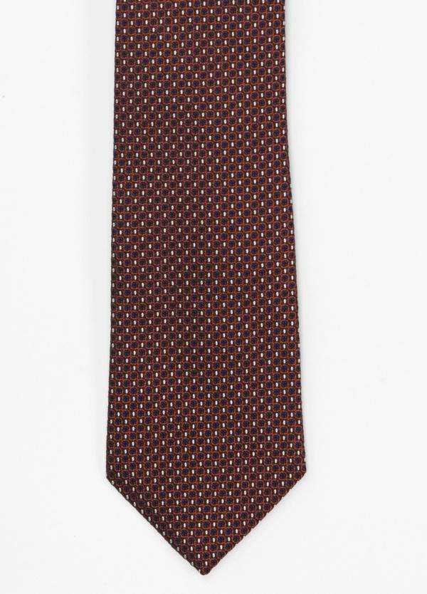 Corbata Formal Wear microtextura color marino y granate dibujo geométrico. Pala 7,5 cm. 100% Seda.