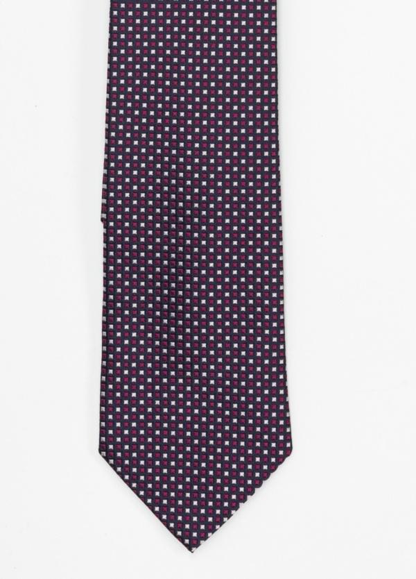 Corbata Formal Wear microtextura color marino y fuxia dibujo geométrico. Pala 7,5 cm. 100% Seda.