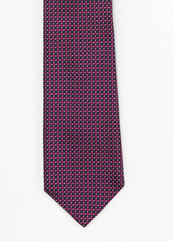 Corbata Formal Wear microtextura color marino y fuxia, dibujo geométrico. Pala 7,5 cm. 100% Seda.