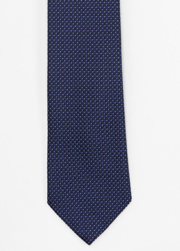 Corbata Formal Wear microtextura color azul noche, dibujo geométrico. Pala 7,5 cm. 100% Seda.
