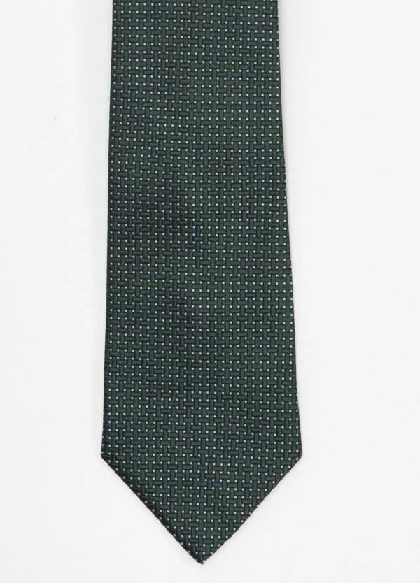Corbata Formal Wear microtextura color verde, dibujo geométrico. Pala 7,5 cm. 100% Seda.