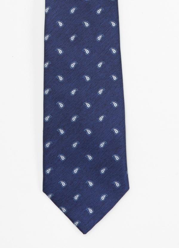 Corbata Formal Wear microtextura color azul, dibujo cashemere. Pala 7,5 cm. 100% Seda.