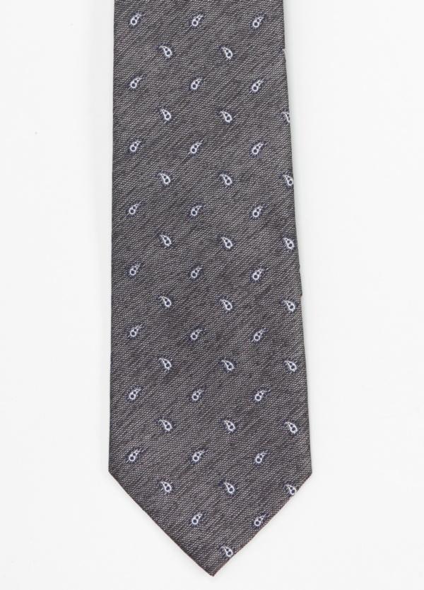 Corbata Formal Wear microtextura color gris, dibujo cashemere. Pala 7,5 cm. 100% Seda.