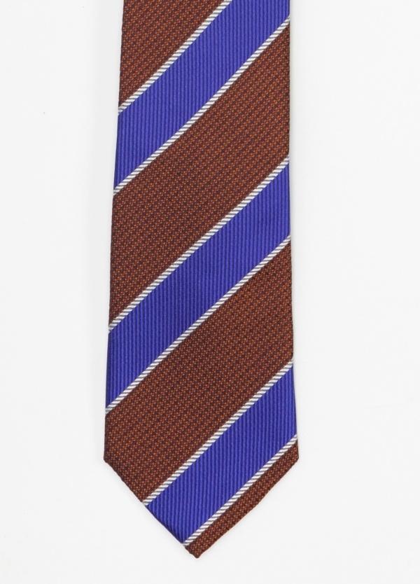 Corbata Formal Wear microtextura, rayas color granate y azul .Pala 7,5 cm. 100% Seda.
