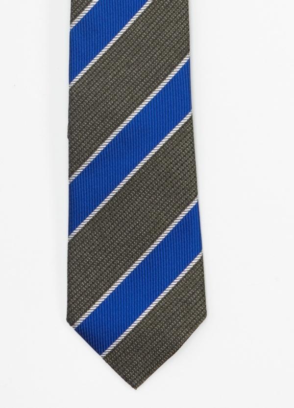 Corbata Formal Wear microtextura, rayas color verde y azul. Pala 7,5 cm. 100% Seda.