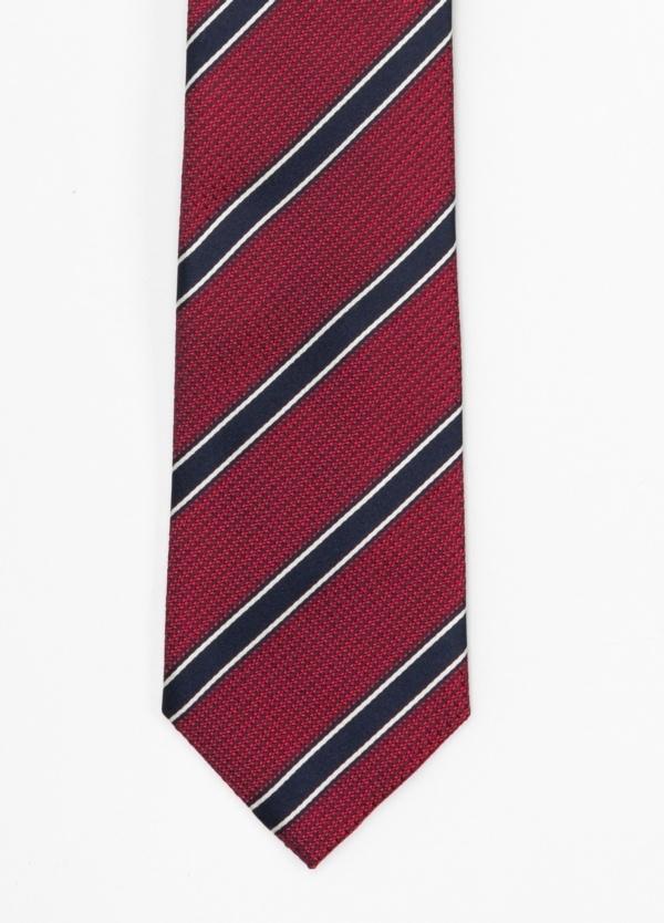 Corbata Formal Wear microtextura, rayas color rojo y azul marino. Pala 7,5 cm. 100% Seda.