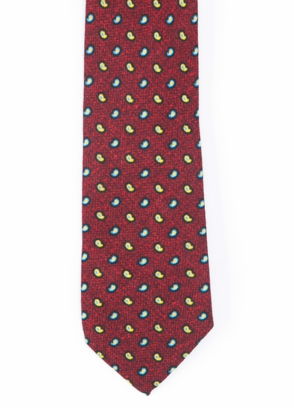 Corbata Formal Wear microtextura color granate, dibujo cashemere. Pala 7,5 cm. Lana.