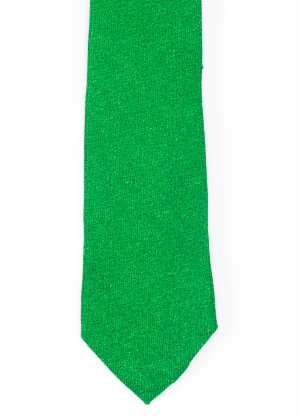 Corbata Formal Wear microtextura color verde. Pala 7,5 cm. Lana.