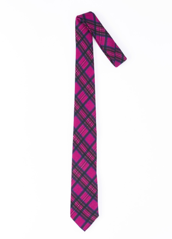 Corbata Formal Wear Microtextura Color Fucsia Dibujo Cuadros Pala