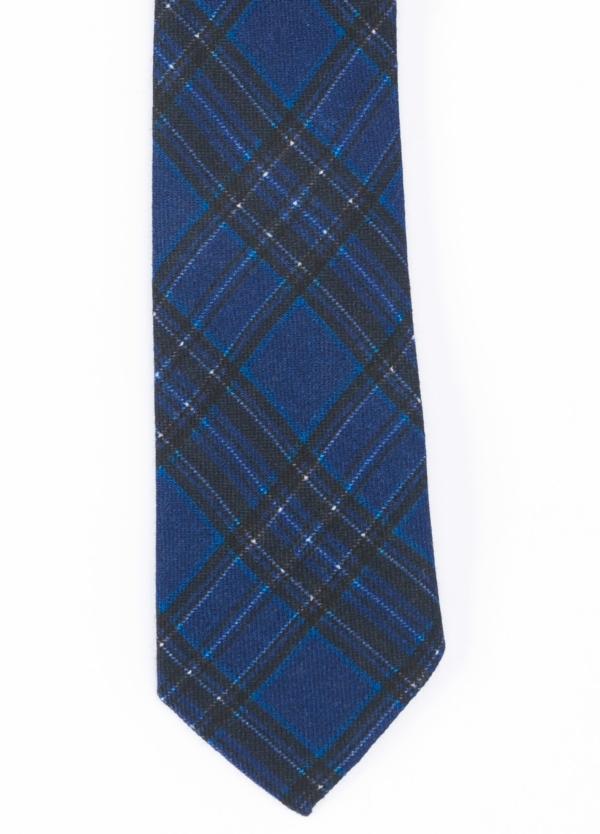 Corbata Formal Wear microtextura color azul, dibujo cuadros. Pala 7,5 cm. Lana.