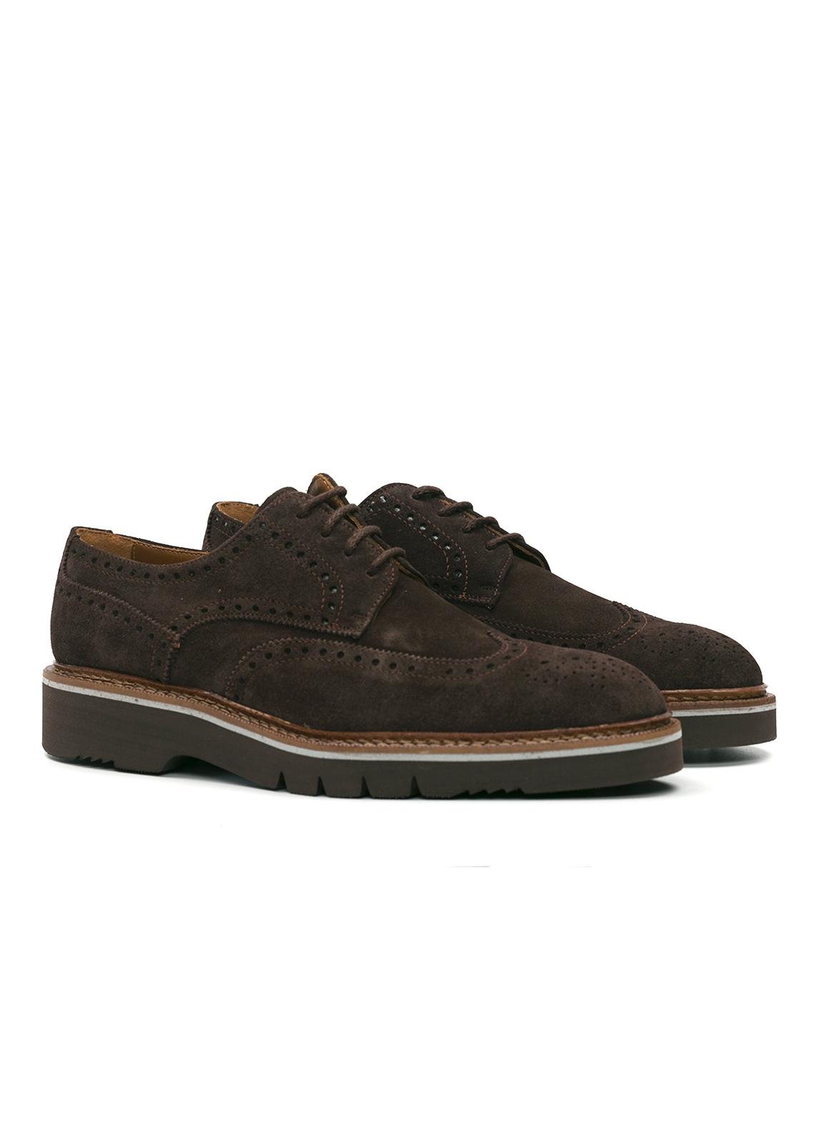 Zapato Sport Wear ante color marrón oscuro con detalles troquelados, 100% Piel. - Ítem4
