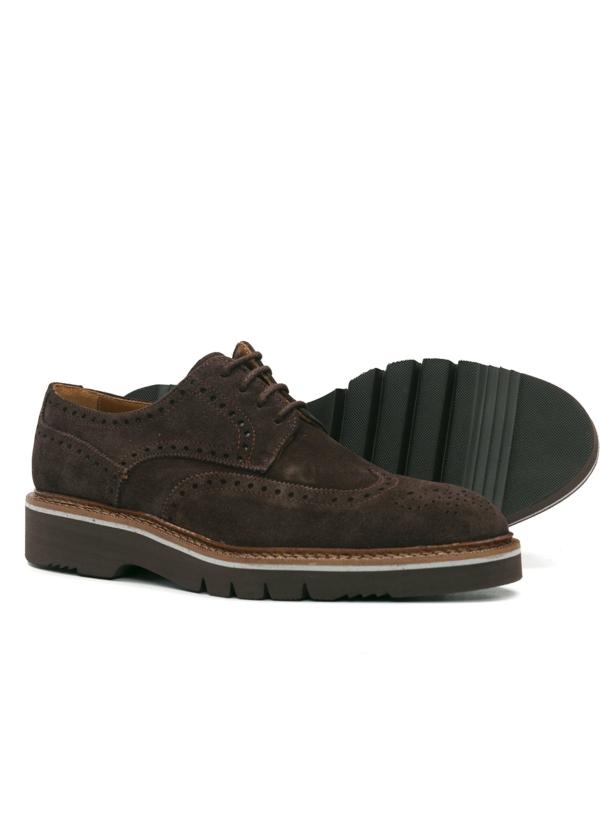 Zapato Sport Wear ante color marrón oscuro con detalles troquelados, 100% Piel. - Ítem1