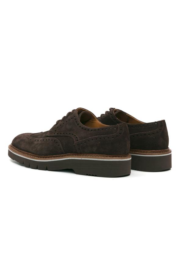 Zapato Sport Wear ante color marrón oscuro con detalles troquelados, 100% Piel. - Ítem3