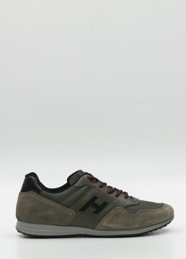 Calzado sport color kaki.Combinación de piel, ante y tejido técnico