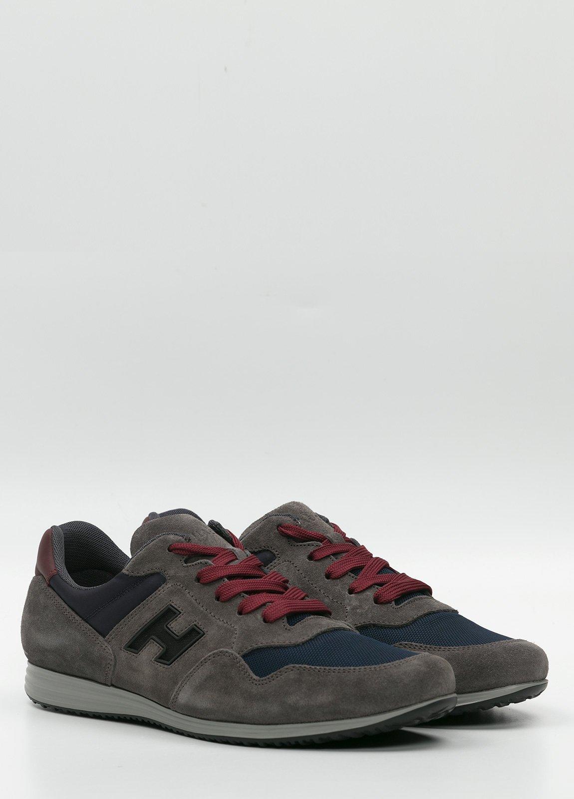 Calzado sport color gris y azul. Combinación de piel, ante y tejido técnico - Ítem3