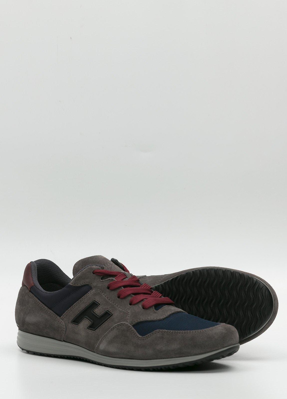 Calzado sport color gris y azul. Combinación de piel, ante y tejido técnico - Ítem4