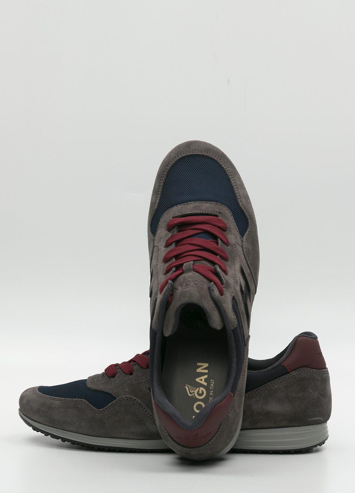 Calzado sport color gris y azul. Combinación de piel, ante y tejido técnico - Ítem2