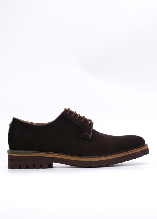 Zapato Formal Wear color marrón oscuro suela sport, 100% Ante.