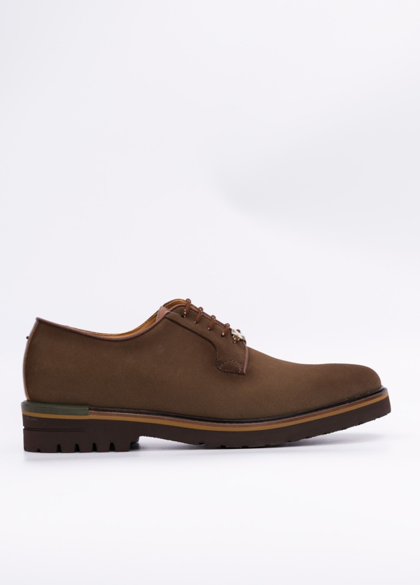Zapato Formal Wear color tostado suela sport, 100% Ante.
