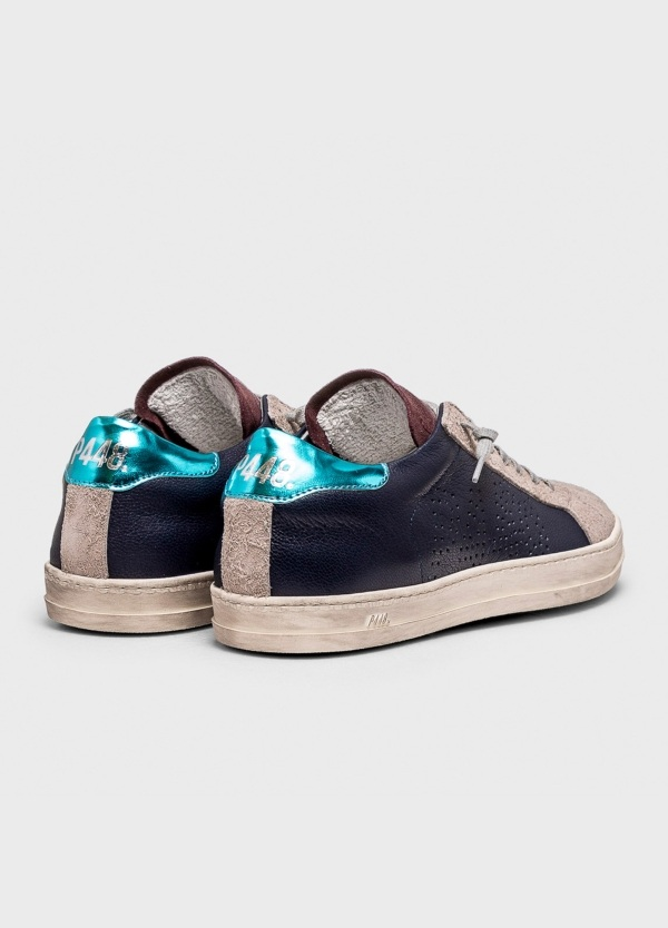Calzado sport modelo JOHN color azul marino con detalle turquesa. Combinación de piel y serraje. - Ítem1