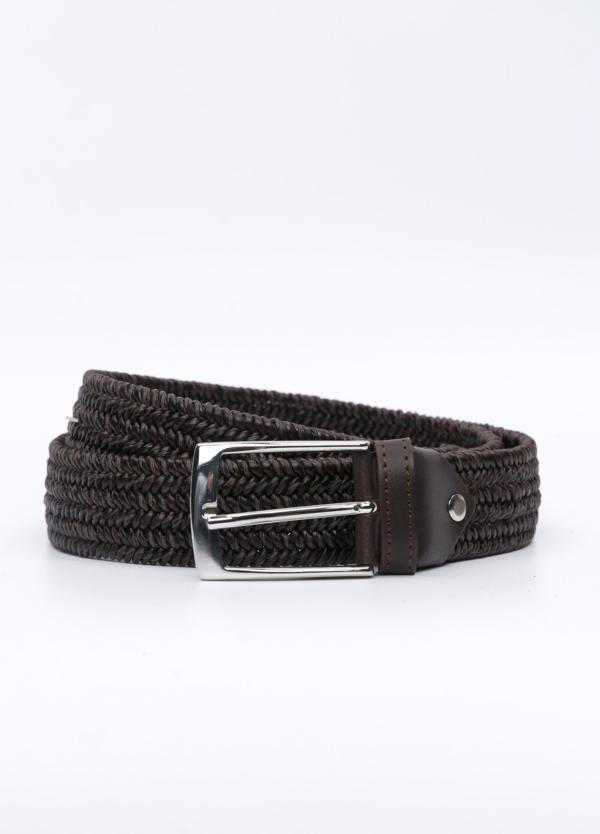 Cinturón Sport piel trenzada, color marrón. 100% piel.