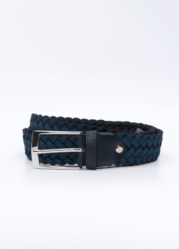 Cinturón Sport trenzado, color azulón y azul marino. Piel y algodón.